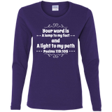 "Bible Verse Ladies' Cotton Long Sleeve T-Shirt - ""Psalm 119:105"" Design 1 (White Font) - Meditate Healing Christian Store"