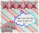 Hope Inspiring Kids Snuggly Blanket - God Is With Me ~Isaiah 41:10~ (Design: Elephant)