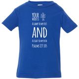 "Bible Verse Infant Jersey T-Shirt - ""Psalm 119:105"" Design 19 (White Font) - Meditate Healing Christian Store"
