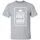 "Bible Verse Men 5.3 oz. T-Shirt - ""Psalm 119:105"" Design 2 (White Font) - Meditate Healing Christian Store"