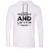 "Bible Verse Men Long Sleeve T-Shirt Hoodie - ""Psalm 119:105"" Design 16 (Black Font) - Meditate Healing Christian Store"