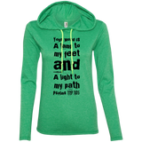 "Bible Verse Ladies' Long Sleeve T-Shirt Hoodie - ""Psalm 119:105"" Design 6 (Black Font) - Meditate Healing Christian Store"