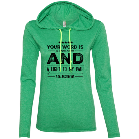 "Bible Verse Ladies' Long Sleeve T-Shirt Hoodie - ""Psalm 119:105"" Design 16 (Black Font) - Meditate Healing Christian Store"