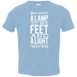 "Bible Verse Toddler Jersey T-Shirt - ""Psalm 119:105"" Design 4 (White Font) - Meditate Healing Christian Store"