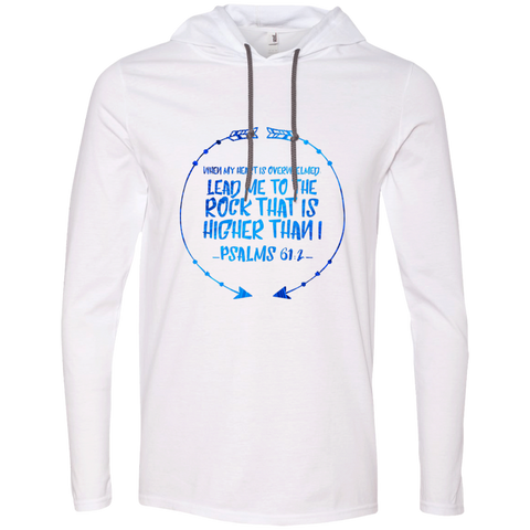 "Bible Verse Men Long Sleeve T-Shirt Hoodie - ""Psalm 61:2"" Design 8 - Meditate Healing Christian Store"