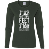 "Bible Verse Ladies' Cotton Long Sleeve T-Shirt - ""Psalm 119:105"" Design 4 (White Font) - Meditate Healing Christian Store"