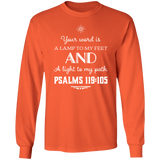 "Bible Verse Long Shirt Ultra Cotton T-Shirt - ""Psalm 119:105"" Design 5 (White Font) - Meditate Healing Christian Store"