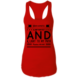 "Bible Verses Ladies Ideal Racerback Tank - ""Psalm 119:105"" Design 14 (Black Font) - Meditate Healing Christian Store"