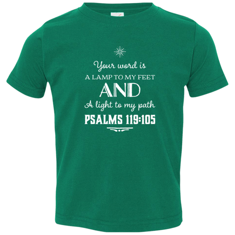 "Bible Verse Toddler Jersey T-Shirt - ""Psalm 119:105"" Design 5 (White Font) - Meditate Healing Christian Store"
