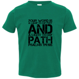 "Bible Verse Toddler Jersey T-Shirt - ""Psalm 119:105"" Design 7 (Black Font) - Meditate Healing Christian Store"