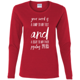 "Bible Verse Ladies' Cotton Long Sleeve T-Shirt - ""Psalm 119:105"" Design 9 (White Font) - Meditate Healing Christian Store"