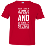 "Bible Verse Toddler Jersey T-Shirt - ""Psalm 119:105"" Design 3 (White Font) - Meditate Healing Christian Store"