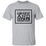 "Bible Verse Men 5.3 oz. T-Shirt - ""Psalm 119:105"" Design 13 (Black Font) - Meditate Healing Christian Store"