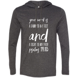 "Bible Verse Men Long Sleeve T-Shirt Hoodie - ""Psalm 119:105"" Design 9 (White Font) - Meditate Healing Christian Store"