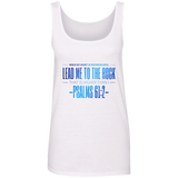 "Bible Verses Ladies' 100% Ringspun Cotton Tank Top - ""Psalm 61:2"" Design 4 - Meditate Healing Christian Store"