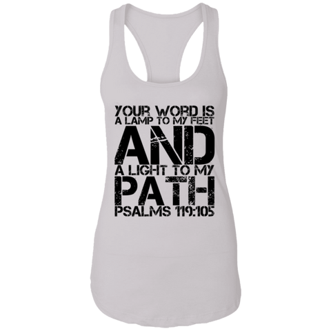 "Bible Verses Ladies Ideal Racerback Tank - ""Psalm 119:105"" Design 7 (Black Font) - Meditate Healing Christian Store"