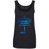 "Bible Verses Ladies' 100% Ringspun Cotton Tank Top - ""Psalm 61:2"" Design 1 - Meditate Healing Christian Store"