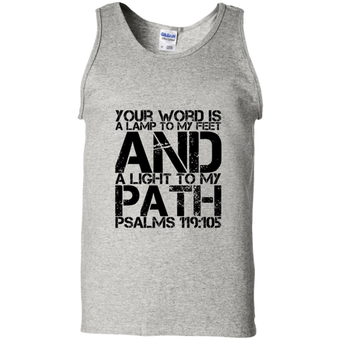 "Bible Verse Men 100% Cotton Tank Top - ""Psalm 119:105"" Design 7 (Black Font) - Meditate Healing Christian Store"