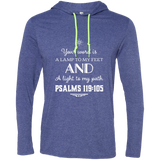 "Bible Verse Men Long Sleeve T-Shirt Hoodie - ""Psalm 119:105"" Design 5 (White Font) - Meditate Healing Christian Store"