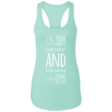 "Bible Verse Ladies Ideal Racerback Tank - ""Psalm 119:105"" Design 20 (White Font) - Meditate Healing Christian Store"