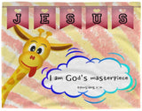 Hope Inspiring Kids Snuggly Blanket - I Am God's Masterpiece ~Ephesians 2:10~ (Design: Giraffe 1)