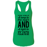"Bible Verses Ladies Ideal Racerback Tank - ""Psalm 119:105"" Design 3 (Black Font) - Meditate Healing Christian Store"