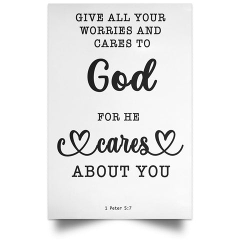 Minimalist Typography Poster - Casting Your Care Upon Him ~1 Peter 5:7~