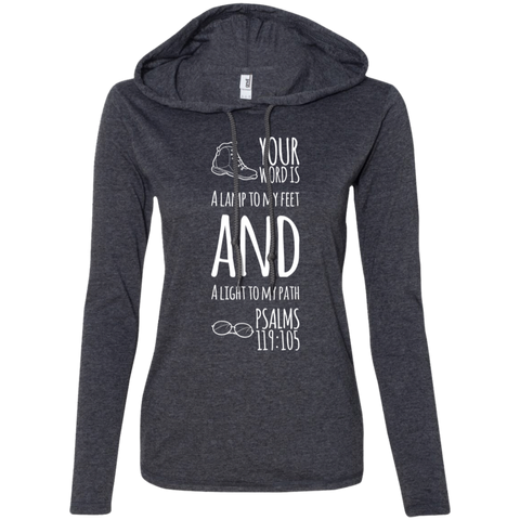 "Bible Verse Ladies' Long Sleeve T-Shirt Hoodie - ""Psalm 119:105"" Design 20 (White Font) - Meditate Healing Christian Store"