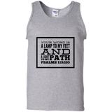 "Bible Verse Men 100% Cotton Tank Top - ""Psalm 119:105"" Design 13 (Black Font) - Meditate Healing Christian Store"