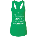 "Bible Verse Ladies Ideal Racerback Tank - ""Psalm 119:105"" Design 5 (White Font) - Meditate Healing Christian Store"