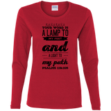 "Bible Verse Ladies' Cotton Long Sleeve T-Shirt - ""Psalm 119:105"" Design 17 (Black Font) - Meditate Healing Christian Store"