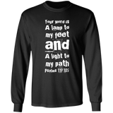 "Bible Verse Long Shirt Ultra Cotton T-Shirt - ""Psalm 119:105"" Design 6 (White Font) - Meditate Healing Christian Store"