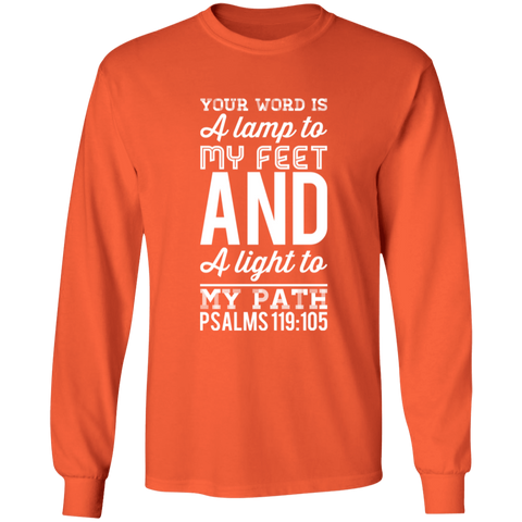 "Bible Verse Long Shirt Ultra Cotton T-Shirt - ""Psalm 119:105"" Design 3 (White Font) - Meditate Healing Christian Store"