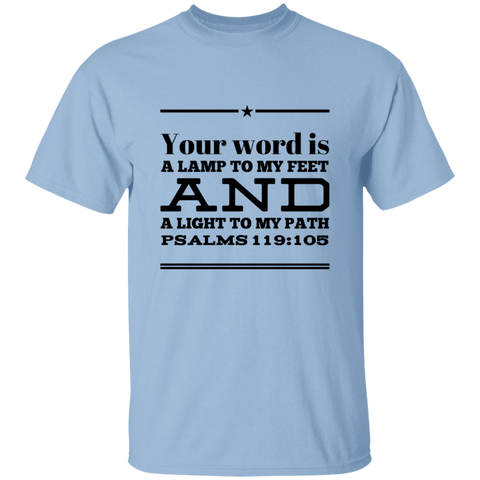 "Bible Verse Men 5.3 oz. T-Shirt - ""Psalm 119:105"" Design 10 (Black Font) - Meditate Healing Christian Store"