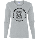 "Bible Verse Ladies' Cotton Long Sleeve T-Shirt - ""Psalm 119:105"" Design 8 (Black Font) - Meditate Healing Christian Store"