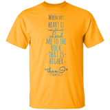 "Bible Verse Men 5.3 oz. T-Shirt - ""Psalm 61:2"" Design 2 - Meditate Healing Christian Store"