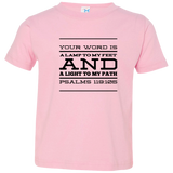 "Bible Verse Toddler Jersey T-Shirt - ""Psalm 119:105"" Design 11 (Black Font) - Meditate Healing Christian Store"