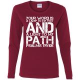 "Bible Verse Ladies' Cotton Long Sleeve T-Shirt - ""Psalm 119:105"" Design 7 (White Font) - Meditate Healing Christian Store"