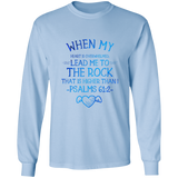 "Bible Verse Long Sleeve Ultra Cotton T-Shirt - ""Psalm 61:2"" Design 17 - Meditate Healing Christian Store"