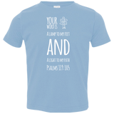 "Bible Verse Toddler Jersey T-Shirt - ""Psalm 119:105"" Design 19 (White Font) - Meditate Healing Christian Store"