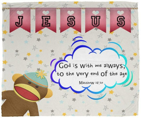 Hope Inspiring Kids Snuggly Blanket - God Is With Me Always ~Matthew 28:20~ (Design: Monkey)