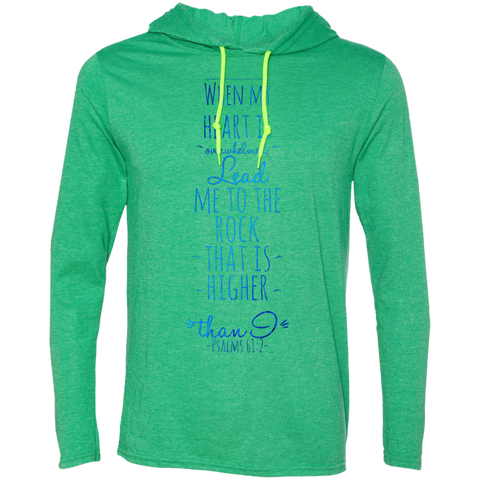 "Bible Verse Men Long Sleeve T-Shirt Hoodie - ""Psalm 61:2"" Design 2 - Meditate Healing Christian Store"
