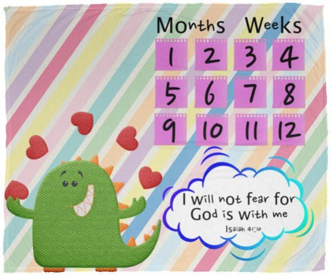 Cozy Plush Baby Milestone Blanket - God Is With Me ~Isaiah 41:10~ (Design: Dinosaur)