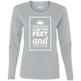 "Bible Verse Ladies' Cotton Long Sleeve T-Shirt - ""Psalm 119:105"" Design 2 (White Font) - Meditate Healing Christian Store"