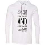 "Bible Verse Men Long Sleeve T-Shirt Hoodie - ""Psalm 119:105"" Design 20 (Black Font) - Meditate Healing Christian Store"