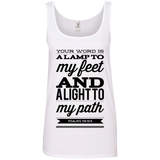 "Bible Verses Ladies' 100% Ringspun Cotton Tank Top - ""Psalm 119:105"" Design 15 (Black Font) - Meditate Healing Christian Store"