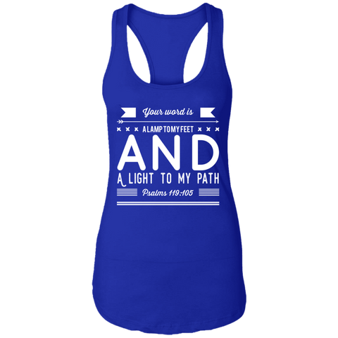 "Bible Verse Ladies Ideal Racerback Tank - ""Psalm 119:105"" Design 14 (White Font) - Meditate Healing Christian Store"