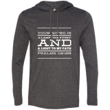 "Bible Verse Men Long Sleeve T-Shirt Hoodie - ""Psalm 119:105"" Design 11 (White Font) - Meditate Healing Christian Store"