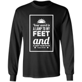 "Bible Verse Long Shirt Ultra Cotton T-Shirt - ""Psalm 119:105"" Design 2 (White Font) - Meditate Healing Christian Store"
