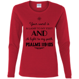 "Bible Verse Ladies' Cotton Long Sleeve T-Shirt - ""Psalm 119:105"" Design 5 (Black Font) - Meditate Healing Christian Store"